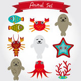 Vector illustration of cute sea animal set including fur seals, octopus, fish, coral, crab, lobster. Royalty Free Stock Photos