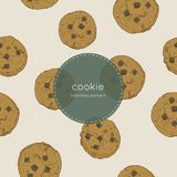 Chocolate chip cookie., seamless pattern vector. royalty free illustration