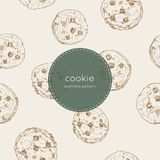 Chocolate chip cookie., seamless pattern vector. Vector illustration cute seamless pattern, background with chocolate chip cookie. Freshly baked choco cookie stock illustration