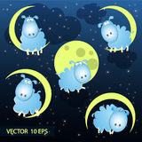 Vector Illustration of cute sheep on moon Royalty Free Stock Photo