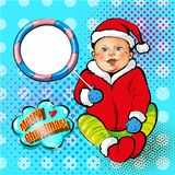 Vector pop art illustration of smiling baby in Santa costume. Vector illustration of cute smiling baby in Santa Claus costume. Merry Christmas and Happy New Year Royalty Free Stock Photo