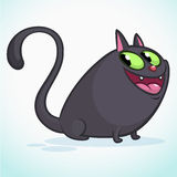 Vector illustration of a cute smiling black fat cat. Fat cat cartoon. Halloween witch cat Stock Image