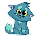 Vector illustration of a cute smiling blue fat cat. Fat stripped cat cartoon Royalty Free Stock Photography