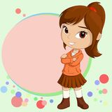Cute smiling little girl standing with background Stock Images