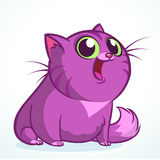 Vector illustration of a cute smiling purple fat cat. Fat striped cat cartoon. royalty free stock photography