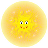 Vector illustration of a cute smiling yellow cartoon sun Royalty Free Stock Image