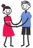 Vector illustration of cute stick figures holding both hands, loving couple, boy and girl dating. Isolated on white background Royalty Free Stock Images