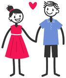 Vector illustration of cute stick figures holding hands, loving couple, boy and girl with red heart. Isolated on white background Royalty Free Stock Images