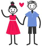 Vector illustration of cute stick figures holding hands and waving, loving couple, boy and girl with red heart. Isolated on white background royalty free illustration