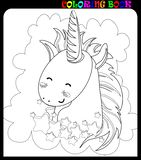 Cute unicorn flying in the night sky. Black and white coloring book page. Vector Illustration of a cute unicorn flying in the night sky with moon, stars and stock illustration