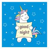 Magic cute unicorn stars and rainbow. Poster greeting card illustration with outline. stock illustration