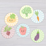 Vector illustration of cute vegetables circle for magnets, stickers, cupcake toppers, gift tags,envelope seals, cards, bookmarks, Royalty Free Stock Images