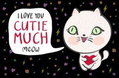 Vector illustration of a cute white cat with a heart is saying I love you cutie much. Cute romantic illustration with funny text. Stock Image