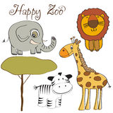 Vector illustration of cute wild animal set. Including giraffe, zebra, lion and elephant Royalty Free Stock Photos