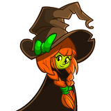 Vector illustration of a cute witch in big hat. Cartoon Halloween character.  Stock Photography