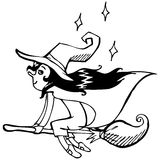 Vector illustration. Cute witch. Black outline ske Royalty Free Stock Image