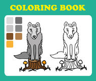 Vector illustration, cute a wolf sitting on a stump, card concept, white background. Stock Photos