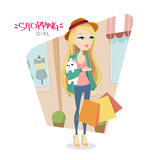 Vector illustration with cute young blonde girl with dog. Who goes shopping. EPS 10 vector illustration