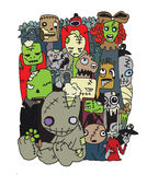 Vector illustration of Cute Zombies characters set. vector illus. Halloween doodle ,Modern sketchy style image of  Cute Zombies and Monsters set, cool, cute hand Royalty Free Stock Photos