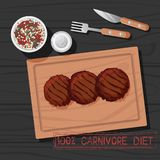 Vector Illustration of Cutlet of Carnivore Diet. Vector Illustration of Grilled Patty of Carnivore Diet. Healthy Nutrition Concept for Meat Lovers. Great for royalty free illustration