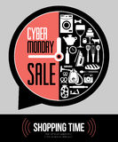 Vector illustration of cyber Monday - the time of the sales. Poster style big sales. Flat vector design Royalty Free Stock Photos