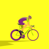 Vector illustration of cyclist on bike; biker and bicycling; Royalty Free Stock Photos