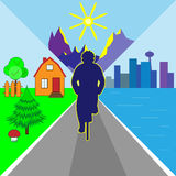 Vector illustration cyclist. On country, town, sea, mountain, sun background Stock Image