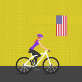 Vector illustration of cyclist girl on bike Royalty Free Stock Photos