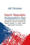 Vector illustration Czech Republic Independence Day, flag in trendy grunge style. 28 October design template for poster. Banner, flayer, greeting,invitation Stock Photos