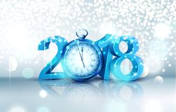 Vector illustration. 3d blue digits 2018, with an old clock inst. Ead of zero on a bright, luminous background . Holiday background for the new year. Element for Stock Image