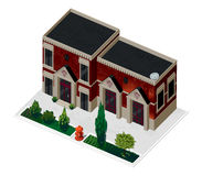 Vector illustration of 3d building. Isometric view of old brick building with showcases and molding. Can be used as icon of hospital, hotel, mall, pastry shop stock illustration