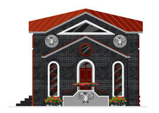 Vector illustration of 3d building. Isometric view of old brick building with showcases and molding. Can be used as icon of hospital, hotel, mall, pastry shop Stock Photos