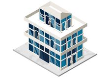 Vector illustration of 3d building. Isometric view of old brick building with showcases and molding. Can be used as icon of hospital, hotel, mall, pastry shop Royalty Free Stock Photos