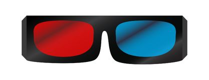 Vector illustration of 3D cinema glasses. Vector illustration of white 3D cinema glasses isolated on the white background.Red and blue glass Stock Image