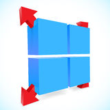 Illustration of 3d cube with arrows. Vector illustration 3d cube with arrows Stock Photo