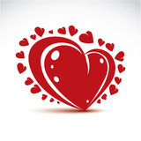 Vector illustration of 3d elegant red love heart isolated. Valen Stock Images