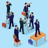 Vector illustration of 3D flat isometric people. The concept of a business leader, lead manager, CEO. Boss, his vision and personal success Royalty Free Stock Photo