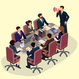 Vector illustration of 3D flat isometric people. The concept of a business leader, lead manager, CEO. Royalty Free Stock Image