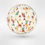 Vector illustration of 3d globe with triangular Stock Photo