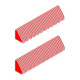 Striped awning. Vector illustration 3d isometric perspective striped awnings for shop. Red and white awning icon set, collection Stock Images