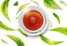 Vector Illustration 3d mit grünen Teeblättern in der Bewegung Stockbild