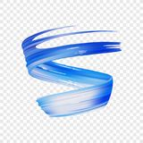 Vector illustration: 3d realistic blue brush stroke oil or acrylic paint. Wave Liquid shape. Trendy design. Vector illustration: 3d realistic blue brush stroke Stock Image