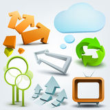 Vector illustration of 3d shapes and arrows Royalty Free Stock Images