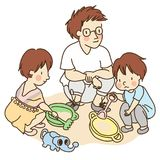 Vector illustration of dad and little kids playing with sand stock illustration