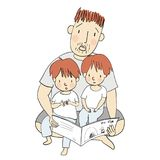 Vector illustration of dad reading children book with his little kids. Family concept - Happy father`s day card, postcard. Cartoon character drawing style royalty free illustration