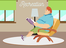 Vector illustration of dad sitting in an armchair and reading Stock Photos