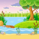 Vector illustration with a dam of beavers. Royalty Free Stock Image