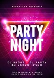 Vector illustration dance party poster background template with glow, lines, highlight and modern geometric shapes. In pink and blue colors. Music event flyer Stock Photography