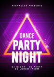 Vector illustration dance party poster background template with glow, lines, highlight and modern geometric shapes. In pink and blue colors. Music event flyer Stock Images