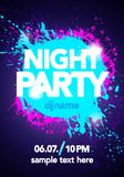 Vector illustration dance party poster background template with splash and ink splatter effects. In modern pink and blue colors. Music event flyer or abstract Stock Photos